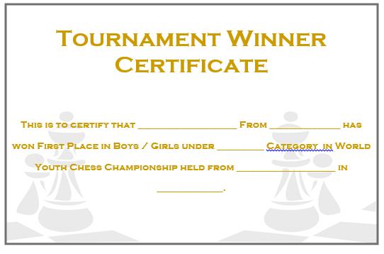 Chess Tournament Winner Certificate 2
