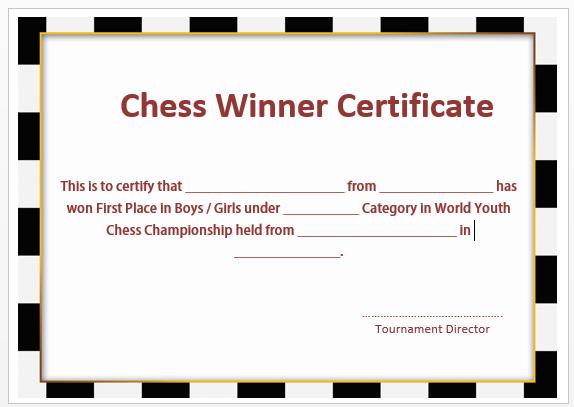 Chess Winner Certificate