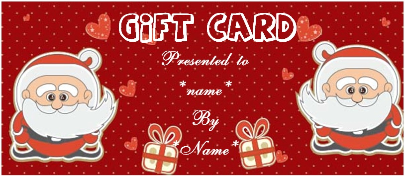 Christmas gift certificate envelope templates