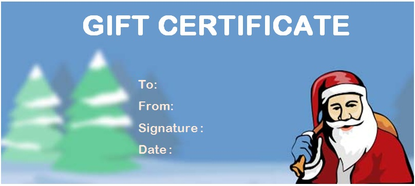 Christmas travel gift certificate template