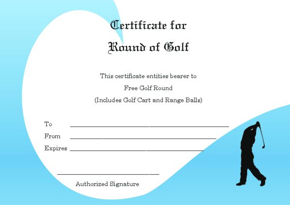 Free Round Of Golf Certificate Template