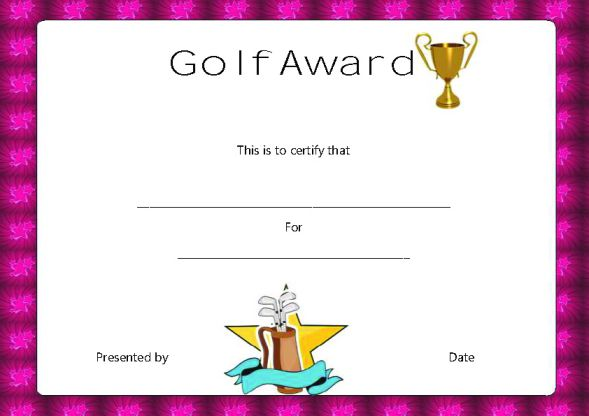 Golf Certificate Award