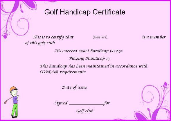 Golf Handicap Certificate Template