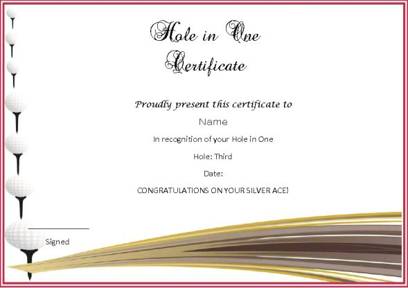 Golf Hole In One Certificate Template