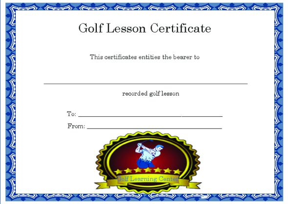 Golf Lesson Certificate Template