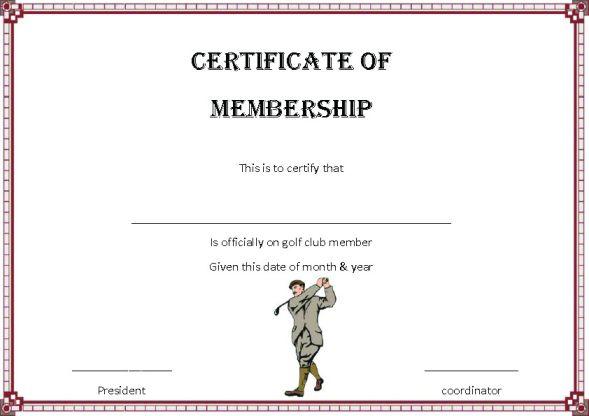 Golf Membership Certificate