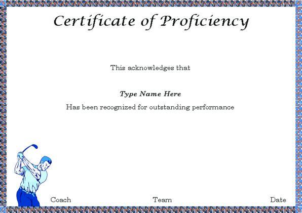 Golf Proficiency Certificate