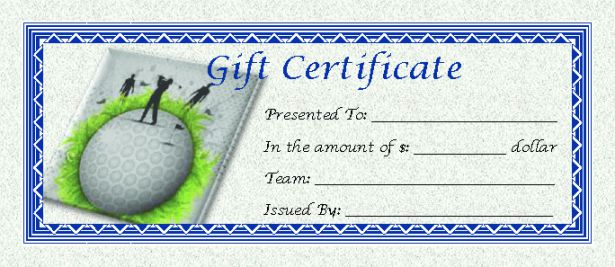 Golf Themed Gift Certificate Template