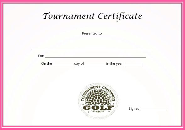 Golf Certificate Template Free Adorable Golf Certificates For Professional Players Free Printable Word Templates Demplates