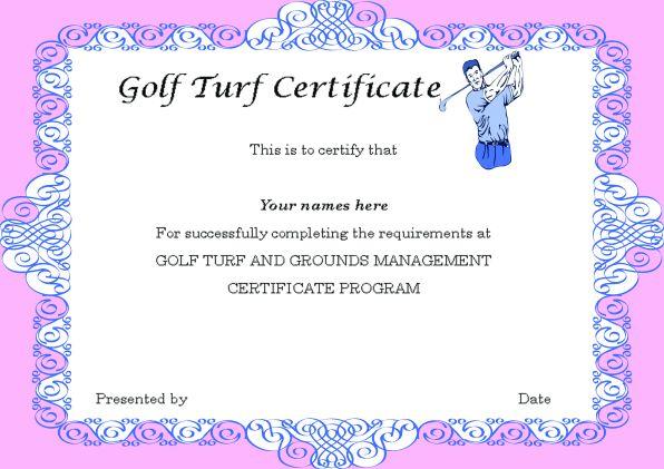 Golf Turf Certificate