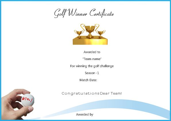 Golf Certificate Templates For Word Yeniscale