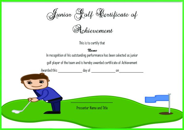 Junior Golf Certificate Of Achievement