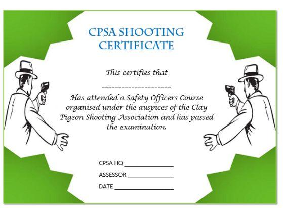 22 shooting certificate templates printable word