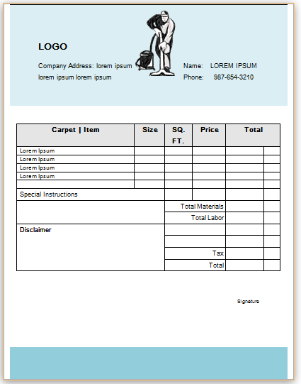 Professional Carpet Cleaning Invoice Templates Impress