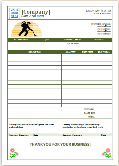 Carpet Cleaning Invoice Template 7