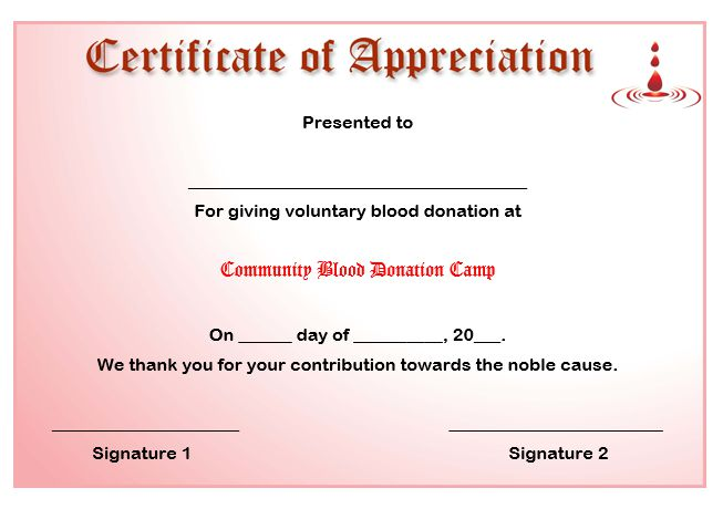 50 professional free certificate of appreciation templates for certificate of appreciation template for blood donation yelopaper Choice Image