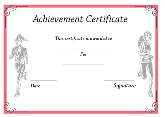 Athletic Achievement Certificate Template