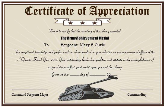 Army Certificate Of Appreciation Memo