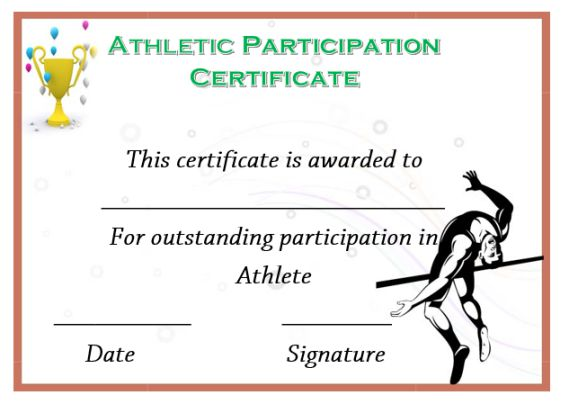 Athletic Certificate Of Participation