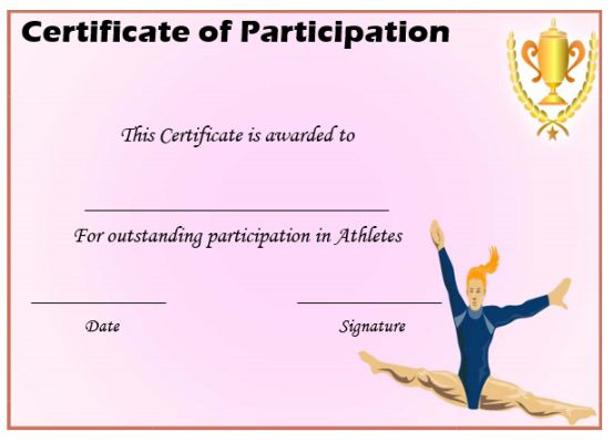 Athletic Participation Certificate