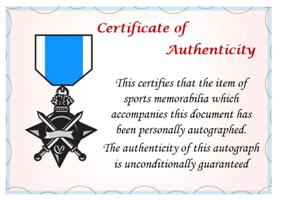 Athletic Promotional Events Certificate Of Authenticity