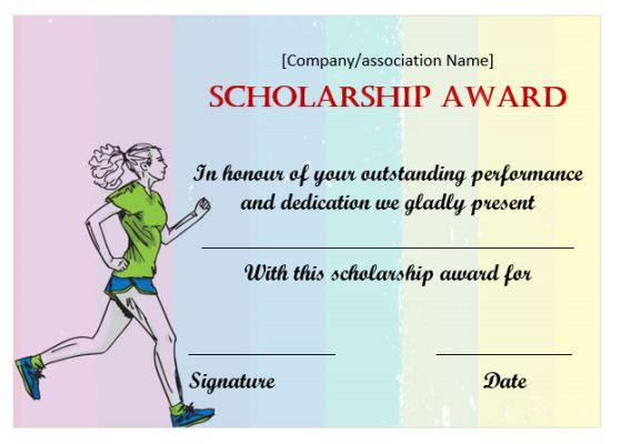 Athletic Scholarship Certificate