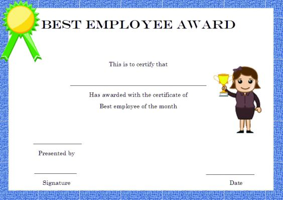 elegant and funny employee of the month certificate templates free