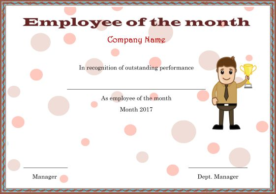 Elegant and Funny Employee of the Month Certificate Templates : Free ...