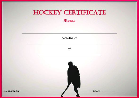 25 Printable Hockey Certificate Templates For Kids Youth Professional Players