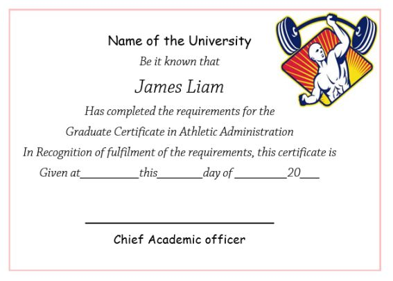 Certificate In Athletic Administration