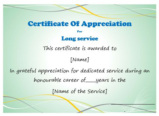 50 professional free certificate of appreciation for Service anniversary certificate templates
