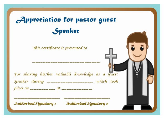 Thoughtful Pastor Appreciation Certificate Templates to ...