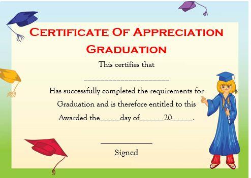 Certificate Of Appreciation Graduation Template