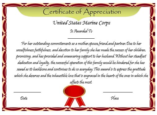 50 professional free certificate of appreciation for Certificate of commendation usmc template