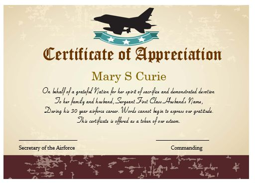 air force certificate of appreciation template 50 professional free certificate of appreciation
