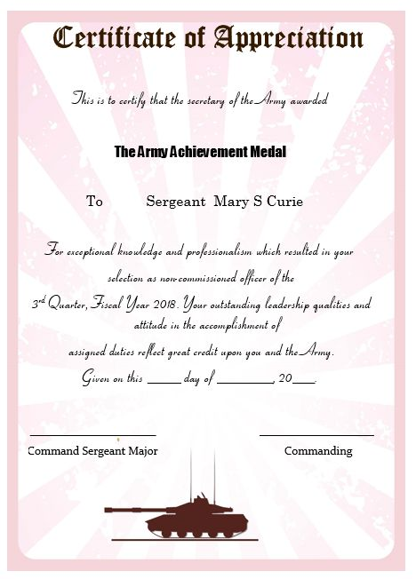 Certificate Of Appreciation Template Army