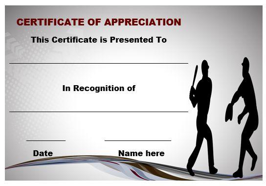 Certificate Of Appreciation Template Baseball