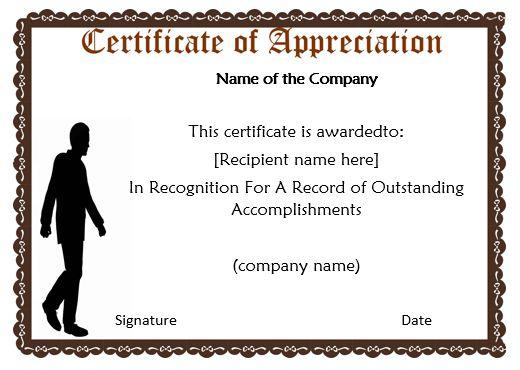 Certificate Of Appreciation Template Business
