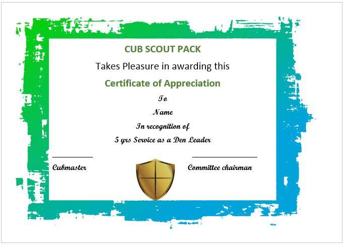 Certificate Of Appreciation Template Cub Scouts