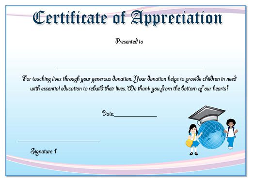 50 professional free certificate of appreciation templates for certificate of appreciation template for donation yadclub Image collections