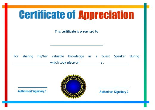 Certificate Of Appreciation Template For Guest Speaker