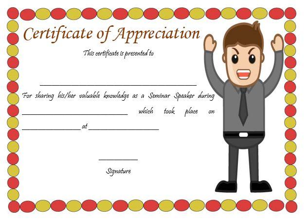 Certificate Of Appreciation Template For Seminar Speaker
