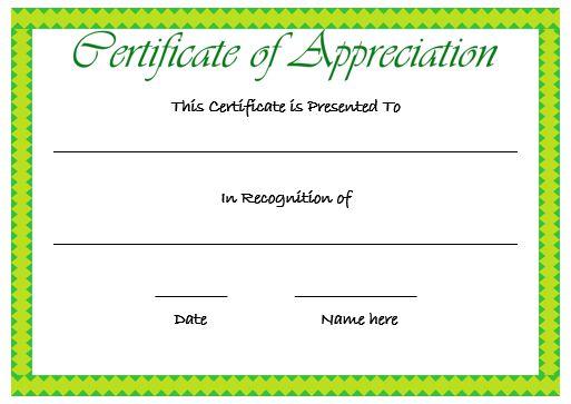 Certificate Of Appreciation Template Green
