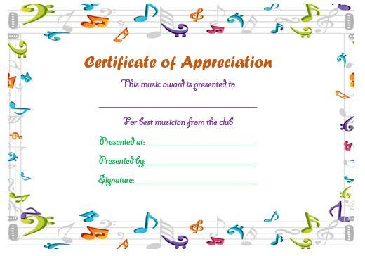 Certificate Of Appreciation Template Music