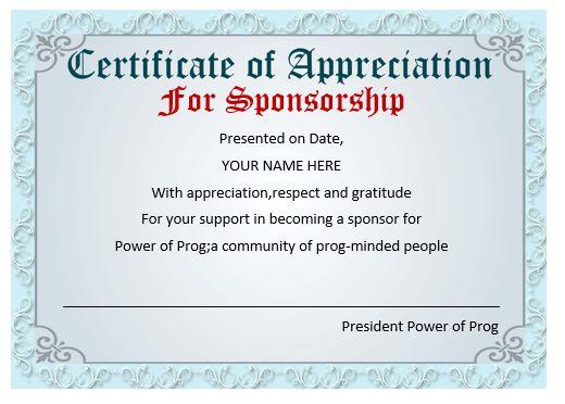 Certificate Of Appreciation Template Sponsorship