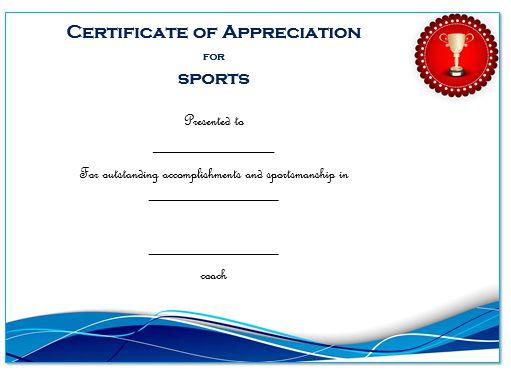 Certificate Of Appreciation Template Sports