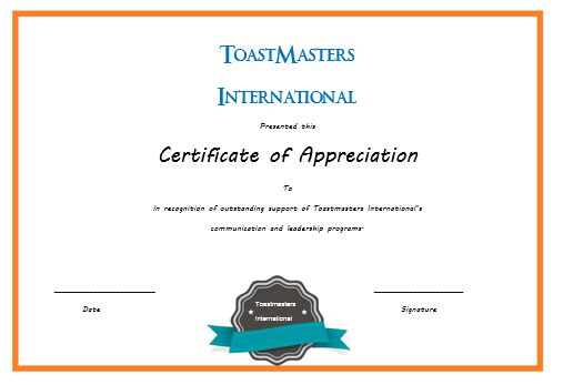 Certificate Of Appreciation Template Toastmasters