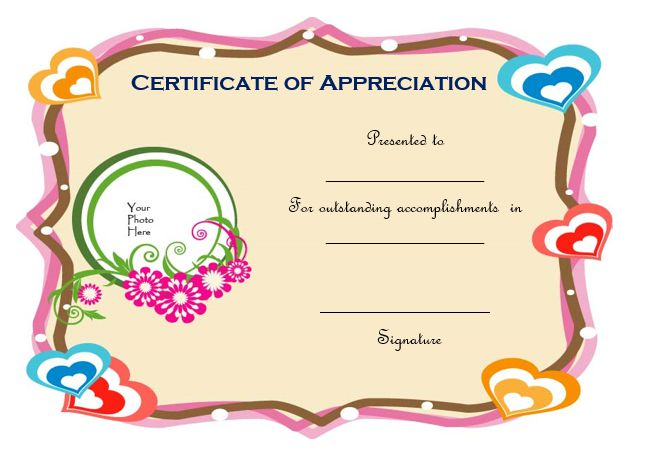 Certificate Of Appreciation Template With Photo