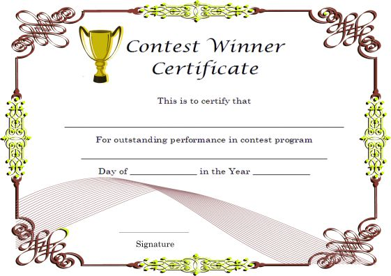 Winner certificate template 40 word templates for for Winners certificate template