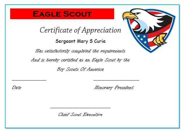 50 professional free certificate of appreciation for Eagle scout certificate template